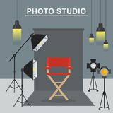 Photo studio interior. Photo and video porodaction studio poster template. Equipment for photo studio, production of films and advertising. Flat vector cartoon Royalty Free Stock Photography