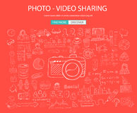 Photo Video Sharing concept with Doodle design style: Stock Image