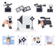 Photo and video studio vector service set Stock Image