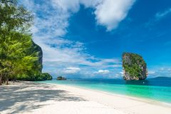 Photo view of Krabi in the shade of a tree on the beach. Thailand Royalty Free Stock Photography