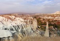 Photo views of the Cappadocia fortress Uchisar. Sunny afternoon Stock Images