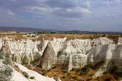 Photo views of the Cappadocia fortress Uchisar. Sunny afternoon Stock Photo