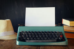 Photo of vintage typewriter with blank page Stock Photos