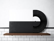 Photo vinyl music album template on natural wood bookshelf.White painted bricks wall background.Vintage style,high. Textured row materials.Black and White disk vector illustration