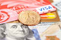 Photo of VISA and Mastercard credit card with american dollars Royalty Free Stock Images