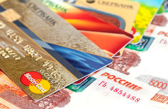 Photo of VISA and Mastercard credit card with russian rubles Royalty Free Stock Photography