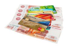 Photo of VISA and Mastercard credit card with russian rubles Royalty Free Stock Photos