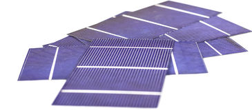 Photo-voltaic cells. A pile of photo voltaic cells Stock Image