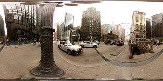 photo 360vr de Chicago du centre Etats-Unis Photographie stock libre de droits