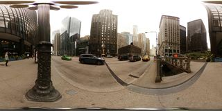 photo 360vr de l'entrée du centre de souterrain de Chicago Etats-Unis Photos stock