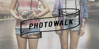 Photo-walk Camera Looking Photograph Urban Concept Stock Images