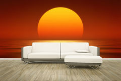 Photo wall mural sofa floor Stock Images