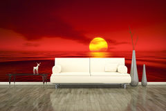 Photo wall mural sofa floor red sunset Stock Photography