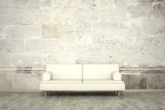 Photo wall mural stone wall sofa floor. An image of a sofa in front of a photo wall mural stone wall Stock Photography