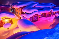The fairy tale world of town night scenery. The photo was taken in China`s snow town Harbin city Heilongjiang province,China Stock Image