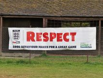 The FA and Football Foundation Respect scheme sign royalty free stock photo