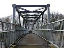 Metal footbridge over the M25 Motorway, Chorleywood stock photos