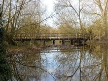 Wooden Bridge over River Chess, Chorleywood stock image