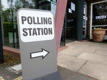 UK polling station sign at church premises stock images
