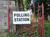 UK polling station sign at church premises royalty free stock photo