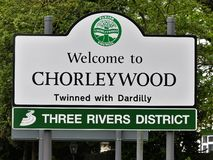 Welcome to Chorleywood, Twinned with Dardilly, Three Rivers District sign royalty free stock photo