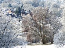 Winter snow scene on Chorleywood Common with village houses in distance royalty free stock image