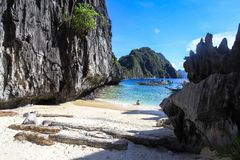 The beach of El Nido, Philippines. This photo was taken in El Nido, Palawan Island, Philippines Royalty Free Stock Photo