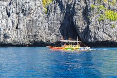 Boats on the beach of El Nido, Philippines Stock Images