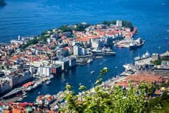 City Scene with Aerial View of Bergen Center and Fjord in Summertime stock images