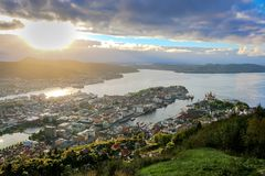 City Scene with Aerial View of Bergen Center and Fjords in The Sunshine royalty free stock images
