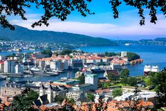 Norwegian Landscape with Aerial View of Bergen City and Fjords in Summer stock images
