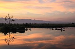 The view of sunset in Inle Lake Royalty Free Stock Images