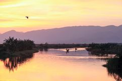 The view of sunset in Inle Lake Stock Photo