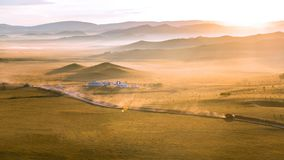 Sunrise in Inner Mongolia, China royalty free stock photography