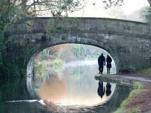 Couple walking under a stone bridge on the Lancaster Canal royalty free stock image