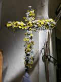 The tradition of Flowering the Cross on Easter morning royalty free stock photography