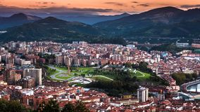 City Scene with Aerial View of Bilbao Center at Sunset stock photos