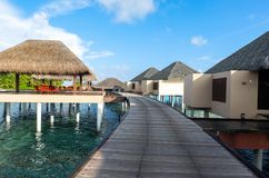 Best all-inclusive Maldives water-villa resorts in Maldives. This photo was taken in Maldives. All-inclusive resorts provide that wonderful feeling of luxury Stock Images