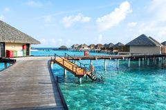 Best all-inclusive Maldives water-villa resorts in Maldives. This photo was taken in Maldives. All-inclusive resorts provide that wonderful feeling of luxury Royalty Free Stock Photos