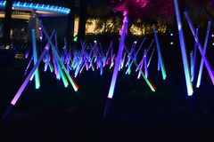 St Louis, Missouri, USA - Nov 22 2017: Missouri Botanic Garden Lights at Night Royalty Free Stock Photos