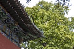 A close shot of building roof of Tanzhe Temple,Beijing. The photo was taken in October 3,2017, Tanzhe Temple , Beijing ,China, Chinese national holiday Royalty Free Stock Photo