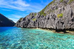 Boats on the beach of El Nido, Philippines. This photo was taken in Palawan island. El Nido Palawan Philippines has some of the most beautiful scenery we have Royalty Free Stock Photography