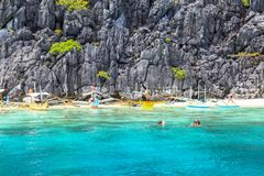 The beach of El Nido, Philippines. This photo was taken in Palawan island. El Nido Palawan Philippines has some of the most beautiful scenery we have ever Royalty Free Stock Photography