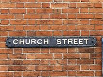 Church Street sign attached to brick wall royalty free stock photography