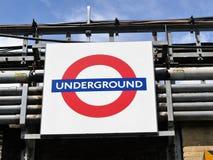Iconic London Underground roundel sign stock photos