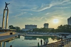 Sunrise at lapangan banteng, jakarta - stock photography