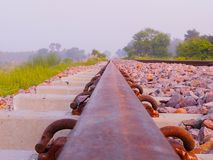 The Rail Track. This photo was taken between the tracks of Bahraich and gonda Stock Image