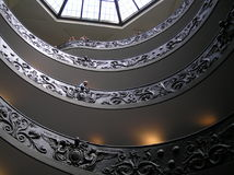 The decorative spiral stairs at Vatican`s meseum Stock Images