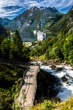 Mountain Landscape with View of Geiranger Fjord in Summer from The Waterfall Walk royalty free stock photography