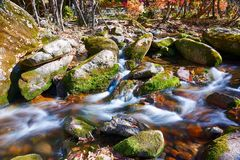 The ravine stream and rocks. The photo was taken in Yanghu gully of Benxi city Liaoning province, China. Benxi city is a capital of maple leaves in aun royalty free stock photo